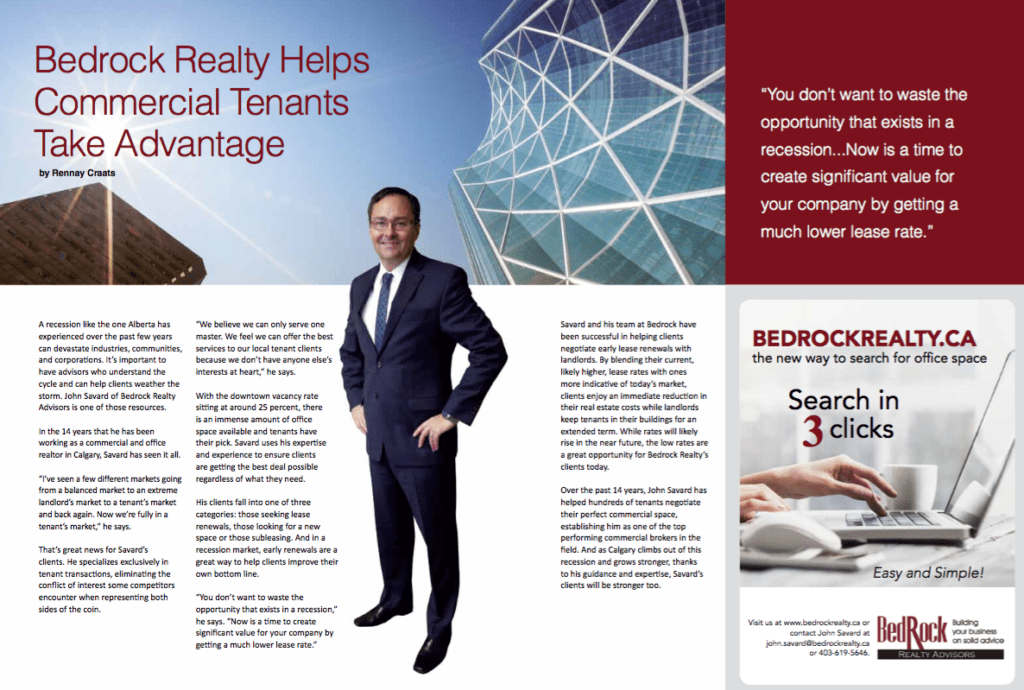 Magazine clipping of Bedrock Realty in Business in Calgary magazine