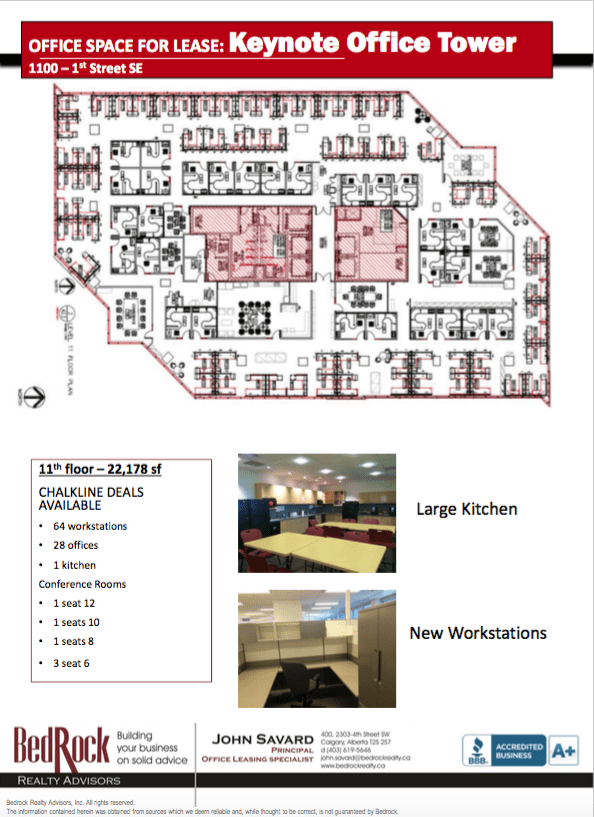 Map of layout of keynote office tower in downtown calgary with office listings